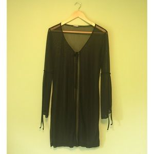 Sheer black coverup with tie details